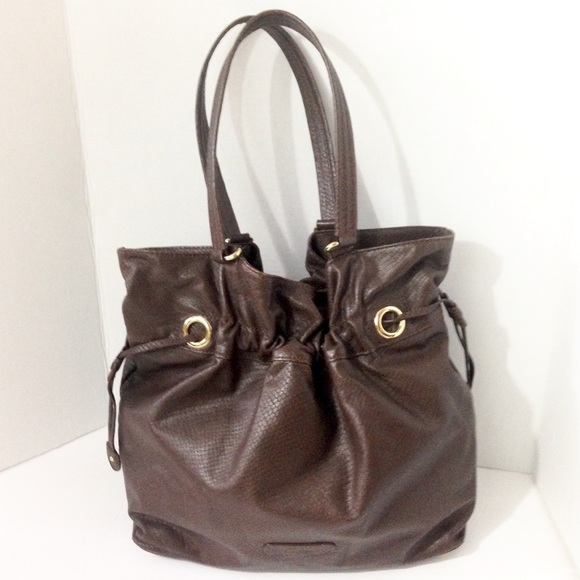 Reptile Embossed Leather Bucket Bag